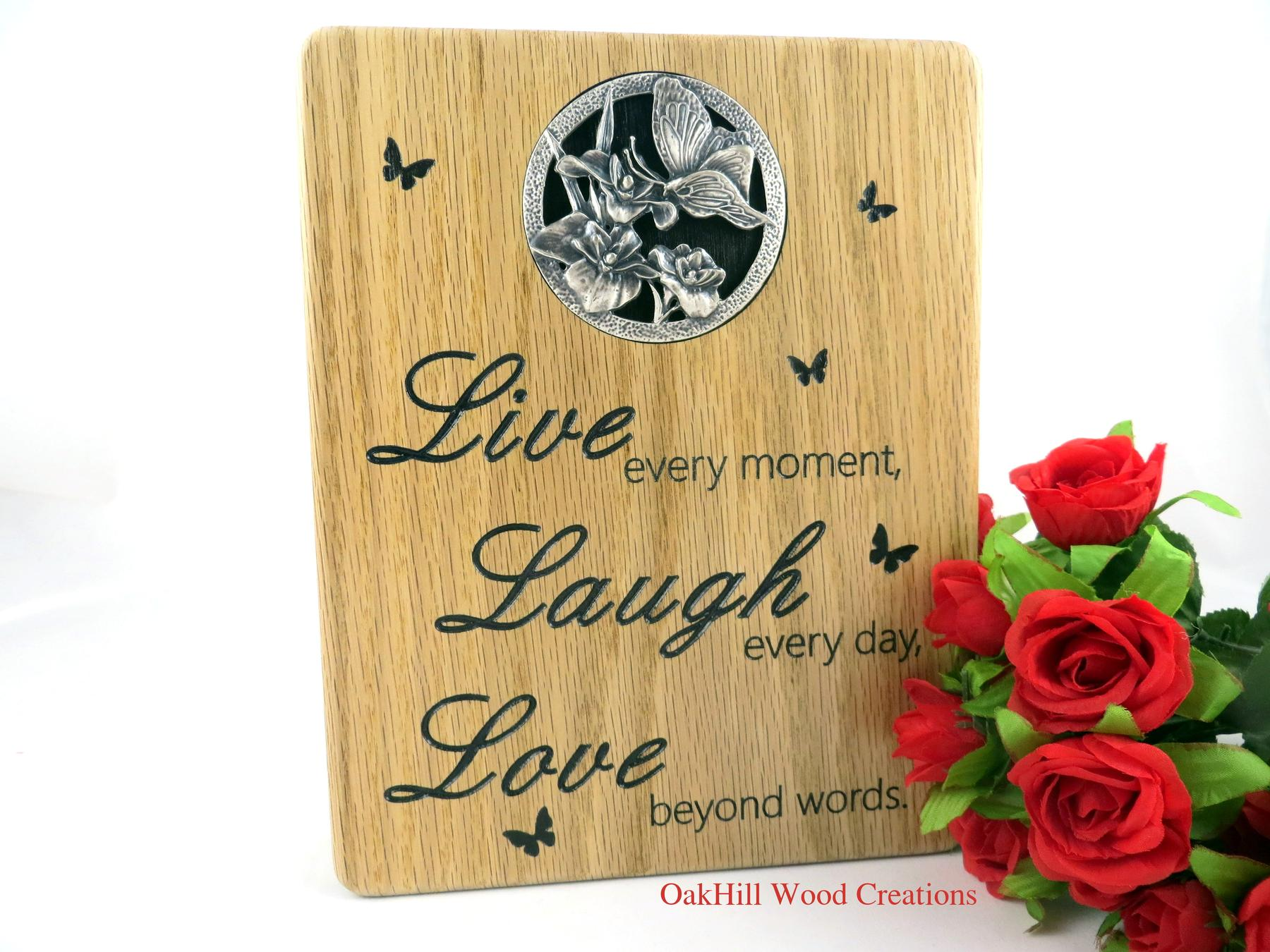Love Quote Signs Live Laugh Love  8 X 10 Oak Sign  Cnc Engraved  Pewter Insert