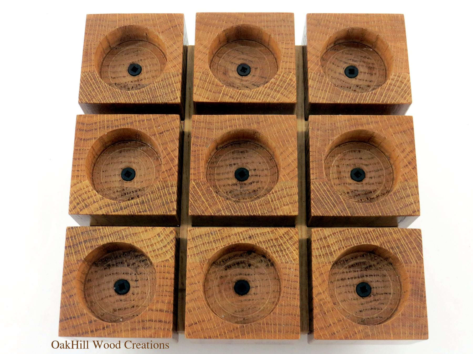 Candle holder oak wood tea light centerpiece